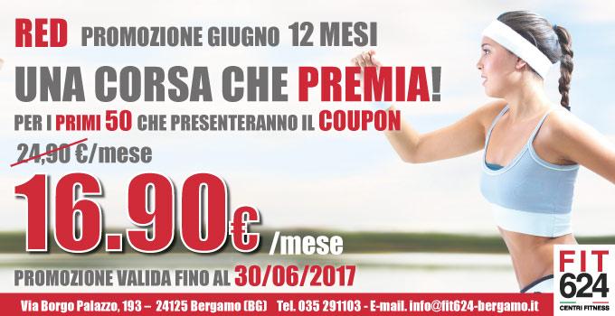 FIT624 Bergamo ABBONAMENTO Promo Red Giugno 12 MESI